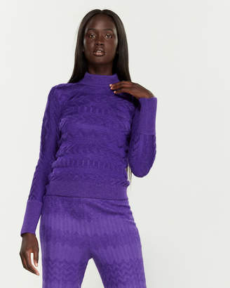 Missoni Sheer Stripe Mock Neck Long Sleeve Sweater