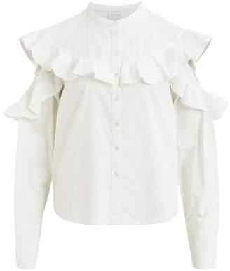 Vila Cold Shoulder Ruffled Shirt