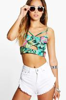 Boohoo Poppy Large Tropical Cut Out Bralet