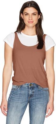 Monrow Women's White Shirt W/Rib Tank