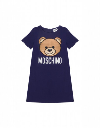 Moschino Teddy Embroidery Dress Woman Blue Size 4a It - (4y Us)