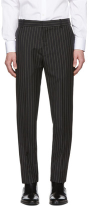 Alexander McQueen Black Mohair and Wool Pinstriped Trousers