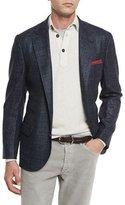 Brunello Cucinelli Plaid Wool/Silk/Cashmere Two-Button Sport Coat, Cobalt