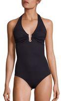 Melissa Odabash Ruched Halterneck Swimsuit