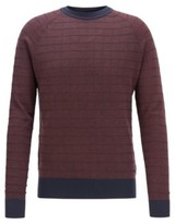 HUGO BOSS - Regular Fit Sweater In Cotton And Silk - Dark Blue