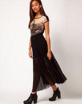 Coated Pleat Maxi Skirt