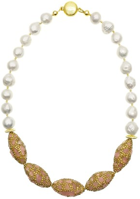 Farra Freshwater Pearls With Rhinestone Bordered Rose Quartz Short Necklace