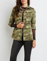 Charlotte Russe Camo Button-Up Shirt