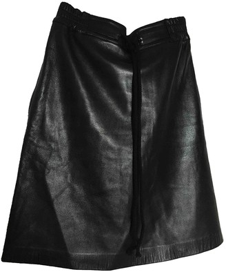 Les Prairies de Paris Black Leather Skirt for Women