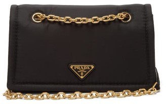 Prada Catene Logo-plaque Nylon Cross-body Bag - Womens - Black