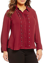 Investments Plus Long Sleeve Button Front Grommet Blouse