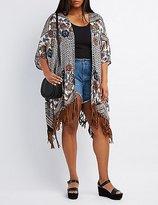 Charlotte Russe Plus Size Printed Fringe Kimono