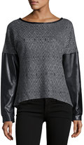 P. Luca Faux-Leather Sleeve Zip-Back Sweater, Black/Charcoal