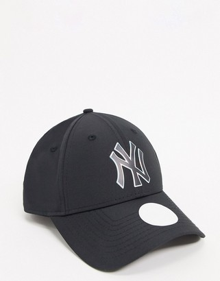 New Era NY 9Forty cap with irridescent logo in black