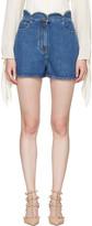 Valentino Blue Denim Scallop Waist Shorts