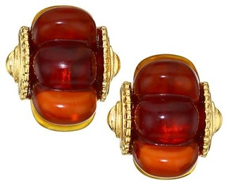 Kenneth Jay Lane 22K Goldplated & Resin Shrimp Hoop Clip-On Earrings