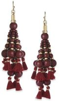 INC International Concepts Gold-Tone Bead and Tassel Drop Earrings, Created for Macy's