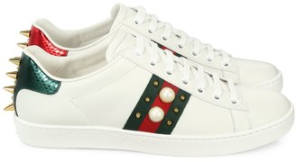 Gucci New Ace Studded Web Leather Sneakers