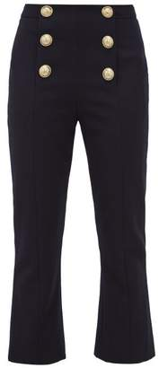 Balmain Buttoned Kick-flare Wool-twill Trousers - Womens - Navy
