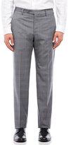 Zanella Grey Plaid Flat Front Wool Pants