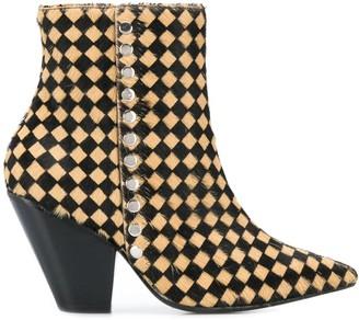 Toga Pulla Checker Print Studded Boots