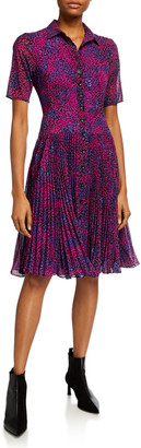 Nanette Lepore Cheetah-Print Pleated-Skirt Shirt Dress