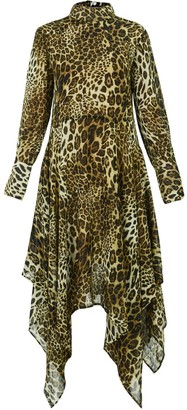 Gisy Petra Animal Print Asymmetric Midi Dress