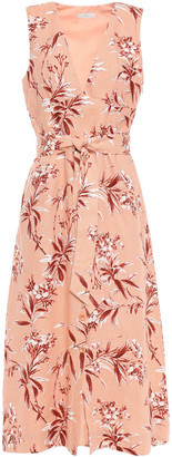 Joie Ethelda Belted Floral-print Linen Midi Dress