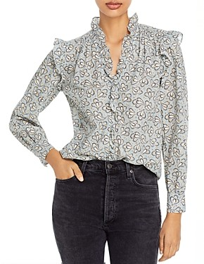 Rebecca Taylor Ruffled Printed Button Front Shirt