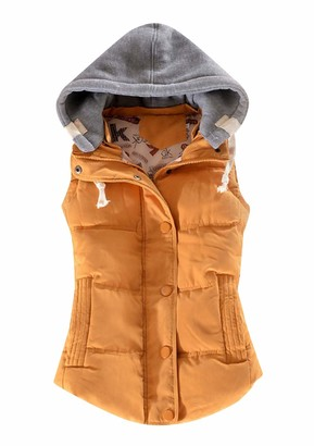 YMING Ladies Winter Gilet High Neck Vest Casual Padded Gilet with Pockets Army Green 2XS