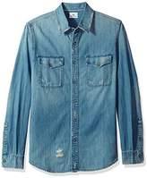 AG Adriano Goldschmied Men's Benning Mended Long Sleeve Denim Shirt