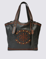 M&S Collection Faux Leather Embroidered Tote Bag