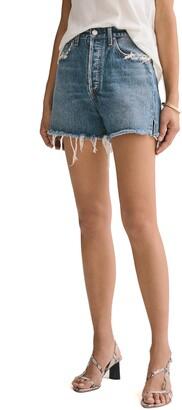 AGOLDE Dee Distressed Super High Waist Denim Shorts