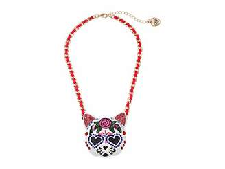 Betsey Johnson Large Sugar Skull Cat Pendant Necklace