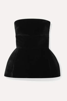 David Koma Velvet Peplum Top - Black