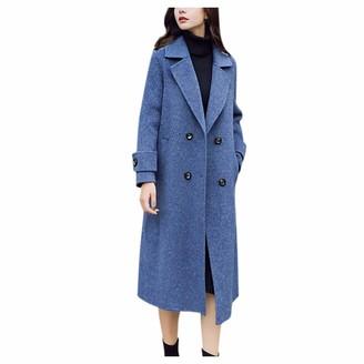 LOPILY Women's Woolen Coats Trendy Elegant Solid Color Wool Trench Jacket Mid-Long Windwall Windbreaker Jumper Plus SizeBlueXL