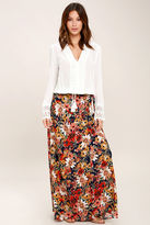 Lucy-Love Lucy Love Midnight Moonlight Navy Blue Floral Print Maxi Skirt