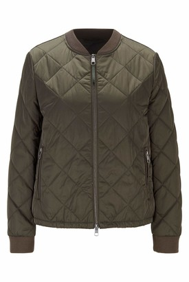 HUGO BOSS Womens C Paho Water-Repellent Blouson-Style Jacket with Diamond-Quilted Outer