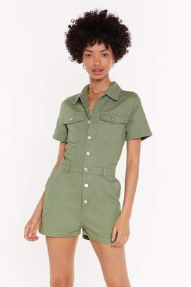 Nasty Gal Womens Bow Button-Down Denim Playsuit - Green - S, Green