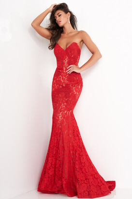 Jovani Fitted Strapless Lace Gown