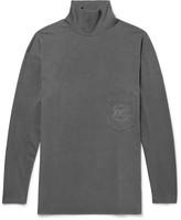 Balenciaga Embroidered Mock-neck Cotton-jersey T-shirt - Dark gray