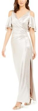 MSK Metallic Cold-Shoulder Gown
