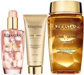 Kérastase Elixir Ultime Huile Lavante Bain 250ml, Fondant Conditioner 200ml and Coloured Hair Oil 100ml Bundle
