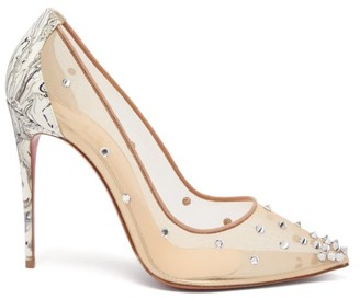 Christian Louboutin Degra 100 Crystal-embellished Mesh Pumps - Nude