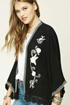 Forever 21 FOREVER 21+ Embroidered Floral Lace Kimono
