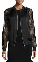 Opening Ceremony Gestures Lace & Satin Bomber Jacket, Black