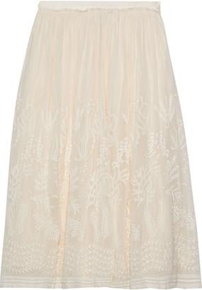 Vanessa Bruno Lise Embroidered Chiffon Midi Skirt