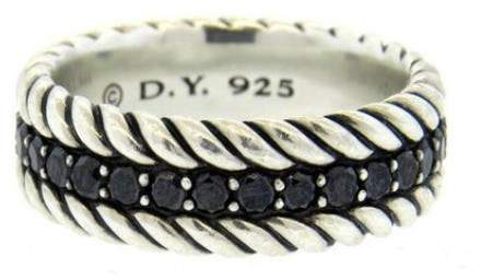 David Yurman Sterling Silver with Black Diamonds Band Ring Size 8.5