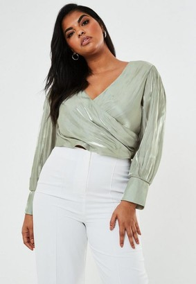 Missguided Plus Size Sage Crinkle Satin Wrap Blouse