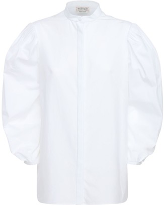 Alexander McQueen Cotton Poplin Shirt W/ Puff Sleeves